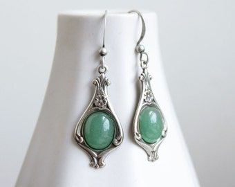 faerie earrings. (antique silver brass filigree. ornate setting. green aventurine gemstone. smooth cabochon. dangle french hooks. victorian)