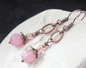 Pink Czech Glass Beads Earrings - A.1103