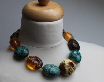 Huge Baltic Amber Turquoise Raw Stone Necklace, Statement Necklace, Blue Teal Brown Yellow Genuine Baltic Amber, Extra Large Earthy Colors