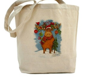 Reindeer Tote - Christmas Tote Bag - Cotton Canvas Tote Bag - Holiday Gift Bag