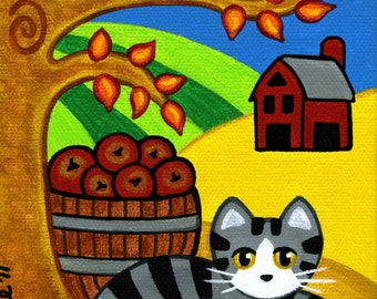 Grey Tabby CAT in FALL Autumn Folk Art PRINT from Original Painting by Jill
