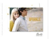 """holiday photo card gold greeting - """"Sparkle"""""""