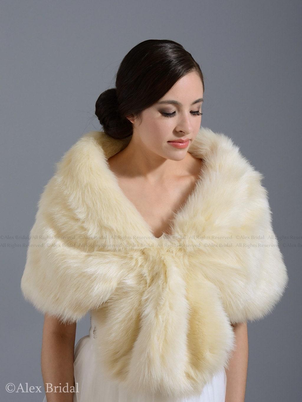 Champagne Faux Fur Wrap Bridal Wrap Faux Fur Shrug Faux Fur