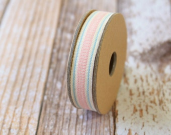 Pink LADDER STITCH fabric woven cotton blend ribbon