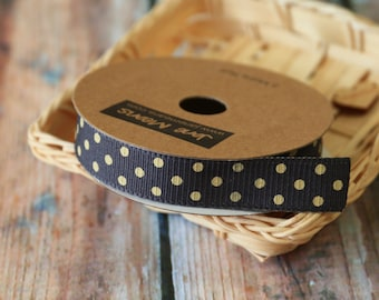 SLATE Grey with CREAM DOTS fabric ribbon reel 3m spool