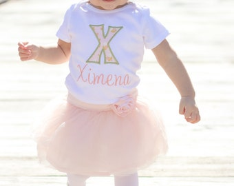 Baby Girl Clothes - Baby Girl Outfit - Personalized Baby Girl Shirt - Initial Bodysuit