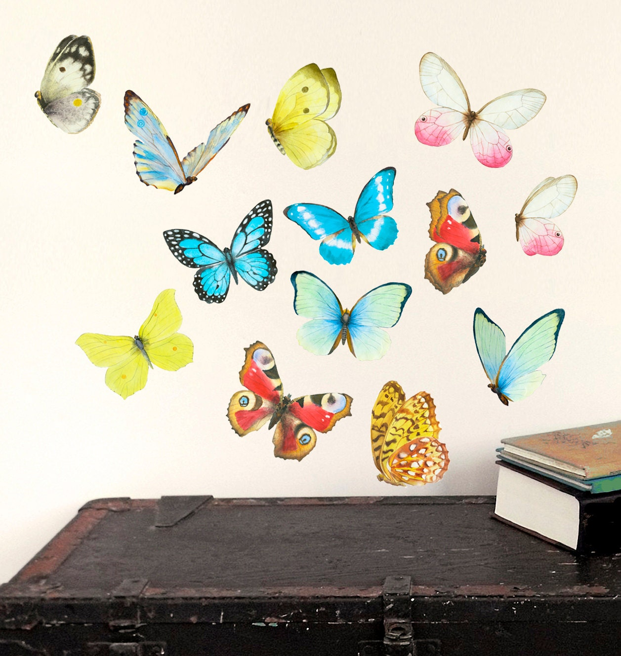 Butterfly wall decal playroom decor watercolor mural by for Butterfly wall mural