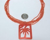 RESERVED for LISA VINTAGE Tropical Mango Orange Glass Seed Bead Mother of Pearl Palm Tree Necklace