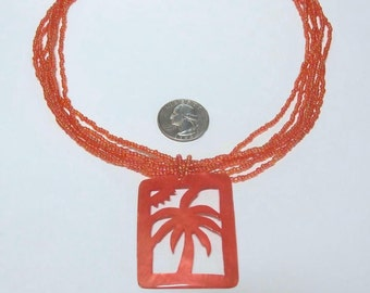 VINTAGE Tropical Mango Orange Glass Seed Bead Mother of Pearl Palm Tree Necklace