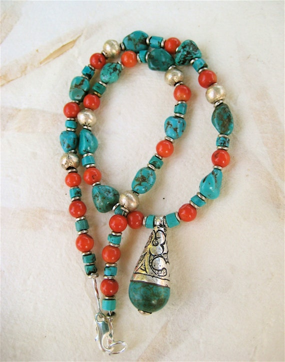 Turquoise and Apple Coral Necklace Colorful Genuine Turquoise and Tibetan Silver Turquoise Pendant Gemstone Jewelry