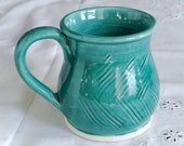 Handmade Aqua Green Ceramic Coffee Mug, Pottery Tea Cup Carved Stoneware Modern Home Decor French Country Kitchen Serving / Made to order