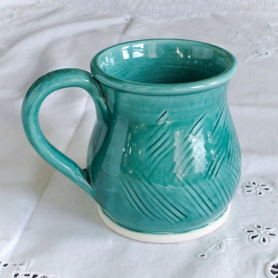 Handmade Aqua Green Ceramic Coffee Mug, Pottery Tea Cup Carved Stoneware Modern Home Decor Rustic Kitchen Serving gift for mom Made to order