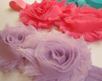 Double Shabby Headband Choose your Color Pink Purple or Aqua