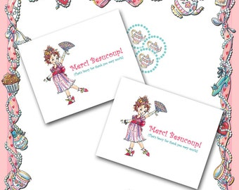 Fancy Nancy Thank You Cards with Teapot Stickers / 10 Cards / Birthday Thank You / Dress Up Party Soirèe