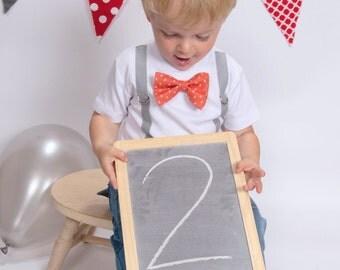 2nd Birthday Shirt Boy. Toddler Boy Second Birthday Outfit. Birthday Bow Tie. Second Birthday Boy. Boys 2nd Birthday Bowtie Suspenders.