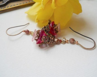 Romantic Pink Flower and Brass Earrings