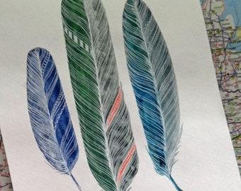feathers original watercolor