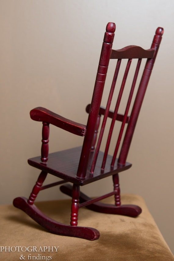 Miniature Red Rocking Chair ~ Vintage miniature wood rocking chair by auldmemories on etsy