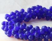 4x6mm  Cobalt  Matte Glass Teardrop Beads - Czech Glass Tear Drop Beads (100 beads)