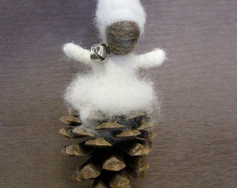 Needle felted ornament,  Pine Cone Elf, Waldorf Nature Table, Winter, Christmas ornament, white, Original Design by Borbala Arvai