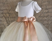 Blush and ivory Flower Girl tutu tulle skirt. Full length.