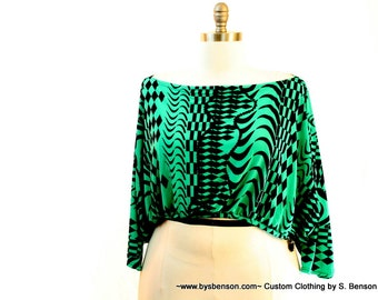 Plus Size Shrug Crop Top Bolero Coverup Fits sizes (14 -24) Green and Black