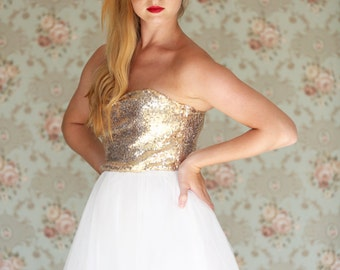 Strapless Gold Sequin Wedding Dress / Tea length tulle dress / Short wedding dress