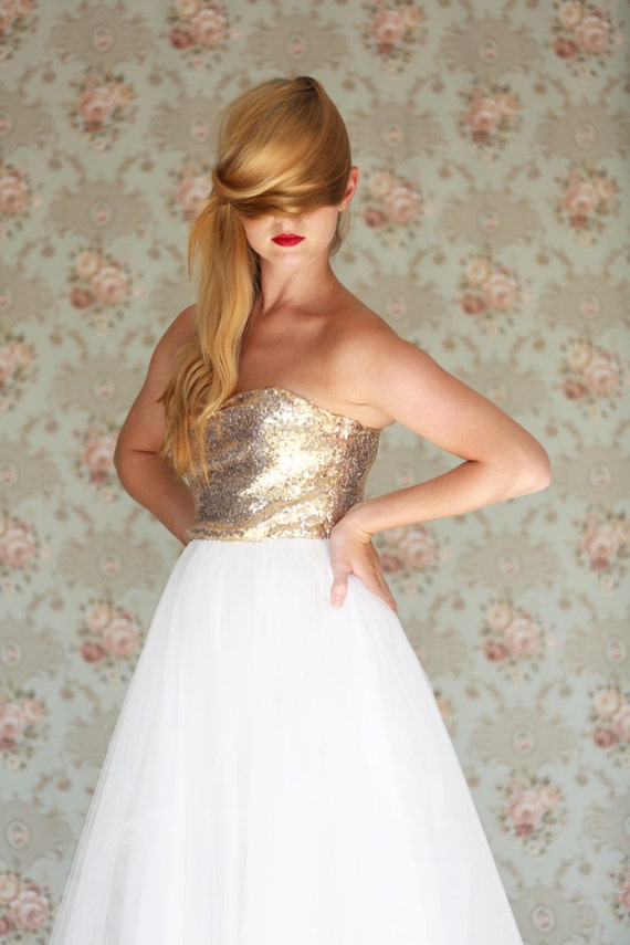 Strapless gold sequin wedding dress tea length by julfashion for Strapless sparkly wedding dresses