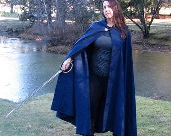 Womens Cloak - Blue Cloak - Wool Cloak - Half-Circle Cloak