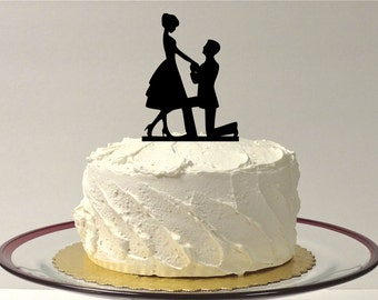 MADE In USA, On Bended Knee Silhouette Wedding Cake Topper, Engagement Cake topper, Bride & Groom Silhouette Wedding Cake Topper, Cake