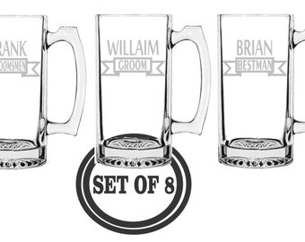 8 GROOMSMAN MUGS ETCHED Beer Mugs Favor Etched Beer Mugs Groomsman Gifts Best Man Gift Wedding Party Engraved Beer Mugs Etched Beer Mugs