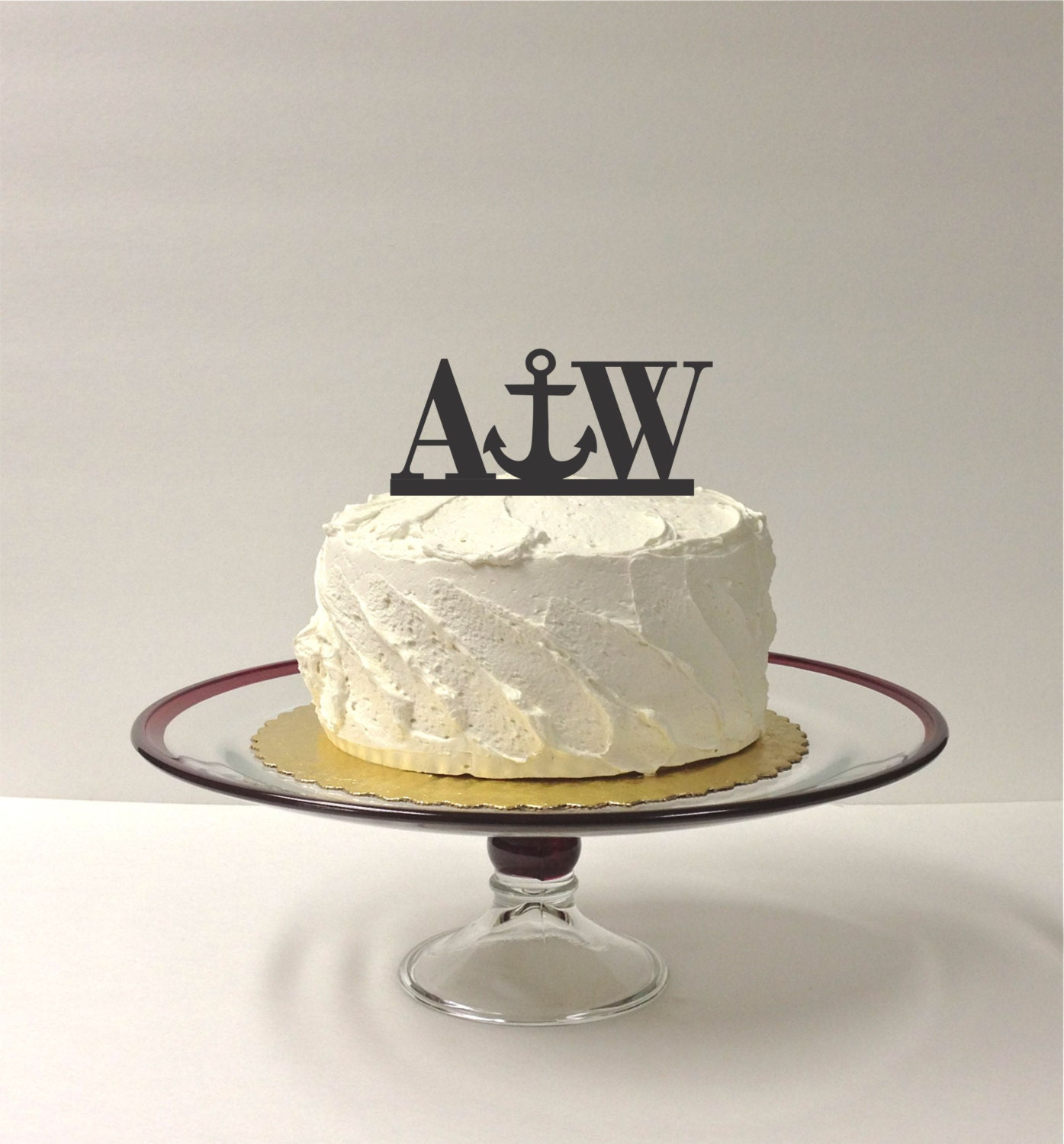 Personalized Anchor Monogram Wedding Cake Topper with YOUR