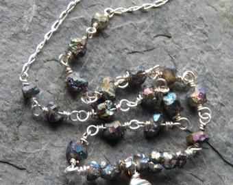 Druzy Necklace, titanium drusy, gemstone necklace, wire wrapped chain, aqua blue chalcedony, teardrop, drusy chain, rustic boho necklace