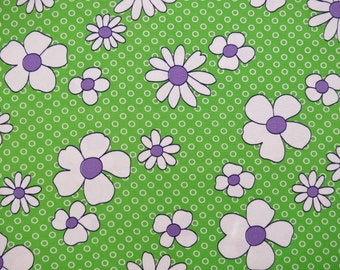 "50% OFF FABRIC SALE! 1970s Vintage Fabric - Lime Green with White Purple Daisies Home Decor - 3 yds x 45"" wide"