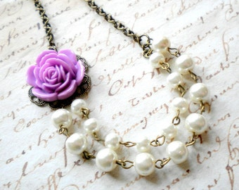 Purple Necklace Flower Necklace Rose Bridesmaid Jewelry Double Strand Pearl Necklace Purple Wedding Jewelry Purple Bridesmaid Necklace