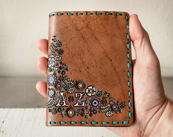 Leather Passport Cover - Custom Floral Passport Wallet - Hand Painted Flower Garden - Custom Initials - Personalized Gift for Her