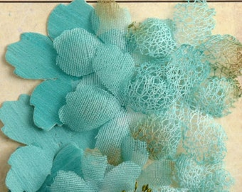 """NEW: Petaloo Textured Col """"Teal """" Mixed Textured Layers. Vintage Style Rustic Fiber Mesh Fabric flowers (12pcs). Wedding / Decorations"""