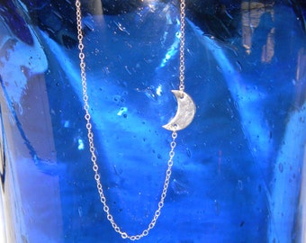 Sterling Silver Moon Necklace, Crescent Moon, Centered, Sideways, I Love You To The Moon And Back, Half Inch Small Moon, Night Sky,