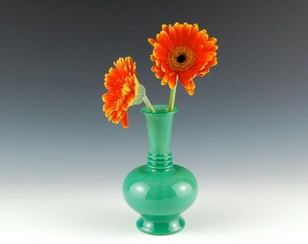 Jade Green Vase, Hand Blown Glass