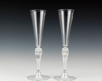 Champagne toasting flutes, Clear hand blown glass