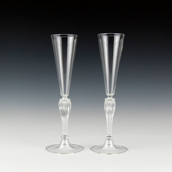 Items Similar To Champagne Toasting Flutes Clear Hand Blown Glass On Etsy