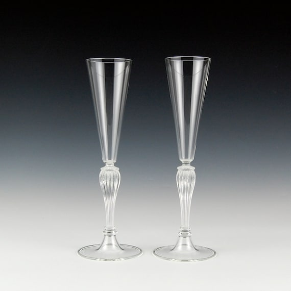 Items similar to champagne toasting flutes clear hand blown glass on etsy - Hand blown champagne flutes ...