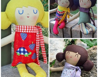 Boy or Girl Petite Doll  Custom Made  cloth doll  rag doll birthday gift  custom doll