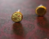 Pounded Pebble Brass and Silver Stud Earrings, Modern Post Earrings