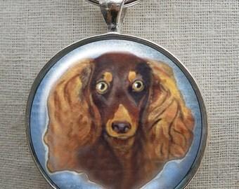 Longhair Dachshund Keychain ~ Doxie Lover ~ Dad Gift ~ CoWorker Gift ~ Gifts Under 10 ~ Weenie Dog