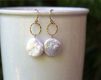 Coin Pearl Earrings, June Birthstone, Gold Fill, Sterling Silver, Minimalist, Lightweight, Simple, Dangle, Drop, Freshwater Pearl