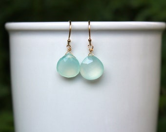 Chalcedony Earrings, Minimalist, Simple Earrings, Teardrop, Aqua Gemstone Earrings, Chalcedony Earrings, Lightweight, Natural Gemstone