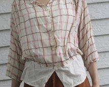 Antique Blouse Sheer Plaid Middy MOP Buttons 1910s Top