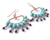 Turquoise Fan Earrings, Copper, Wire Wrapped, Egyptian Style, 750