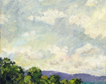 Summer Sky, Berkshires. Oil Painting Landscape, Small Plein Air Impressionist Oil on Panel, 8x10 Signed Original Fine Art